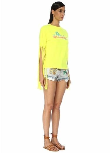 Loewe Loewe x Paula's Ibiza  Logo Baskılı Püskül Detaylı T-shirt 101546323 Sarı